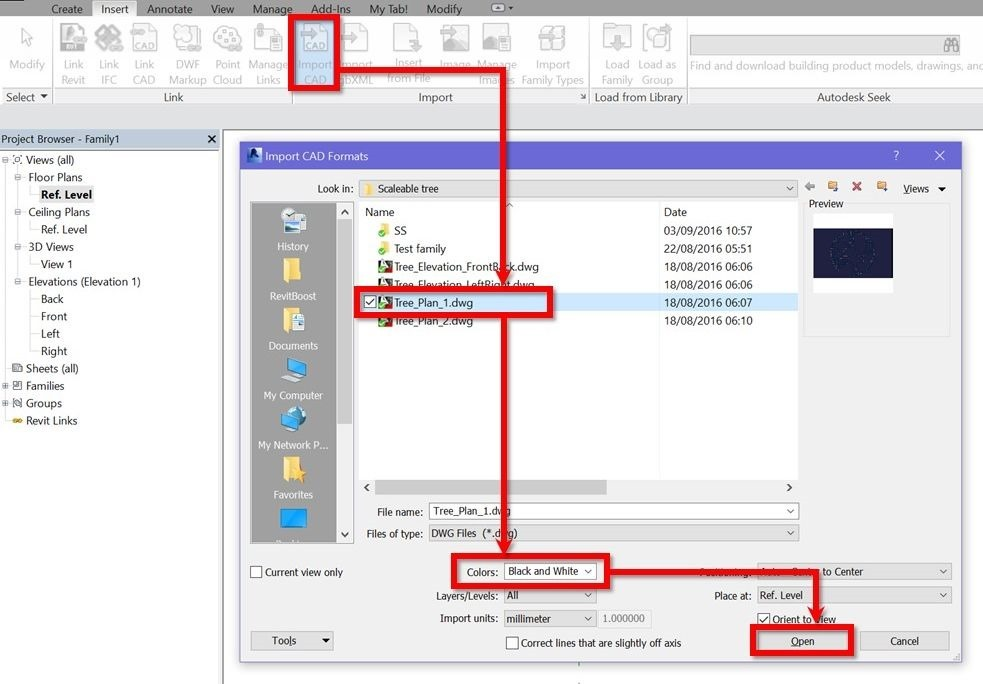 Revit-scalable-tree-4-import DWG