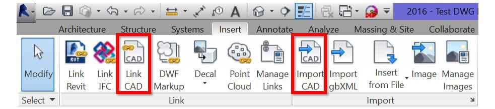 revit commands for cad link or dwg import