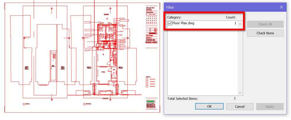 view filter to show cad dwg file