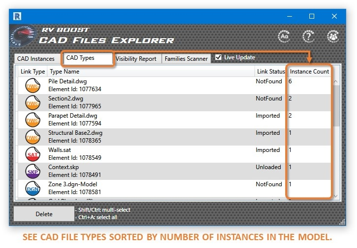cad files explorer for revit show dwg types by instance count