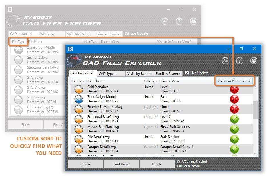 cad files explorer with custom sorts