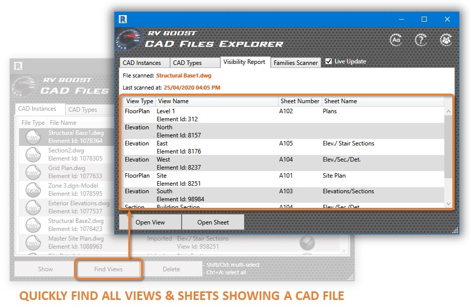 cad file explorer find all view and sheets that show a dwg file