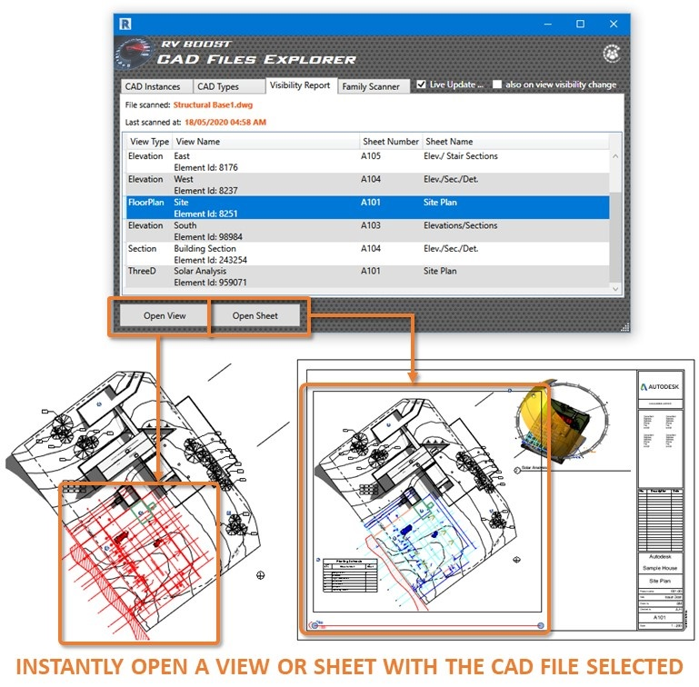 cad files explorer for revit open views or sheets showing a dwg